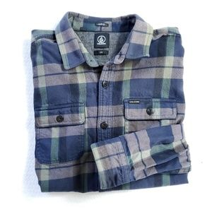 Volcom Denim Weight Plaid Button Up Shirt Slim Fit